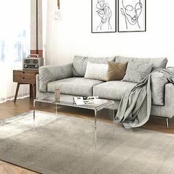 HOMCOM 0.78 Inch Thick Glass Waterfall Coffee Table Rectangl