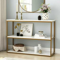 1/ 3Tier Modern Coffee Console Table with Faux Marble Top an