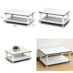 Furinno 11172 Just 2-Tier No Tools Coffee Table, White W/Whi