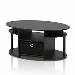 FURINNO 15079WNBK Jaya Simple Design Oval Coffee Table with