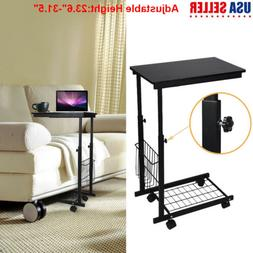 2 Tier Adjust Top Side/End Coffee Lap Lounge Table Storage O