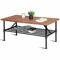 2-Tier Cocktail Coffee Table Living Room Furniture Metal Fra