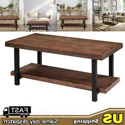 2 Tier Industrial Coffee Table with Storage Shelf for Living