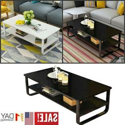 2 Tier Modern Rectangle Coffee Table Slide Top Storage Furni