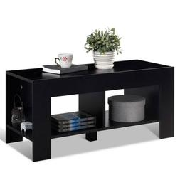 2-Tier Rectangle Wood Coffee Table Sofa Side Table w/ Storag