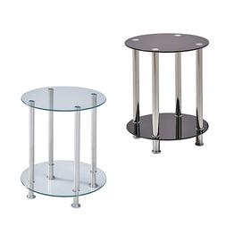 Modern 2 Tier Round Coffee Table Glass Top Sofa Side End Tab