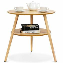 2-Tier Round End Coffee Table Side Accent Table Wood Legs Li