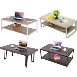 2 Tier Side End Coffee Table Storage Shelves Sofa Couch Livi