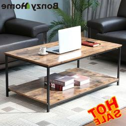 2-Tier Wood Coffee Table Rectangular Living Room with Reticu