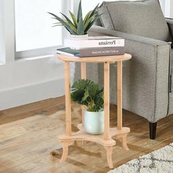 2 Tiered Wooden End Table Round Coffee/Tea Side Table Sofa T