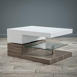 Christopher Knight Home 295371 Coffee Table, Glossy White/Da