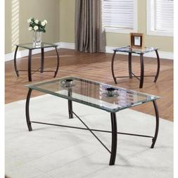 3 Pc. Beveled Glass And Metal Frame Coffee Table & 2 End Tab