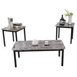 3 PC Coffee Table Set. Marble Look. Home Decor.Living Room F