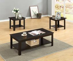 3 PCs Wooden Top and Frame with Storage Shelf Coffee Table a