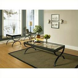Bowery Hill 3 Piece Coffee Table Set in Black