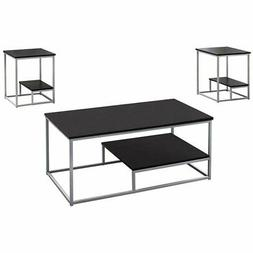 Monarch 3 Piece Coffee Table Set in Cappuccino and Silver