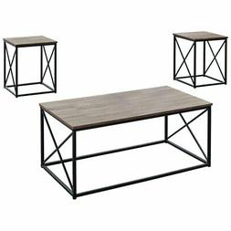 Monarch 3 Piece Coffee Table Set in Dark Taupe and Black
