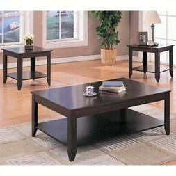 Bowery Hill 3 Piece Contemporary Coffee Table Set in Cappucc