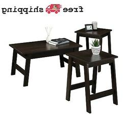 3-Piece Espresso Finish Coffee Table and End Table Set Livin