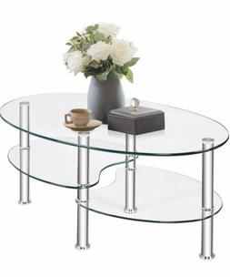 3 Tiered Round Glass Coffee Table