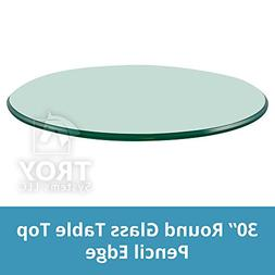30'' Round 3/8 Inch Thick Pencil Polished Tempered Glass Tab