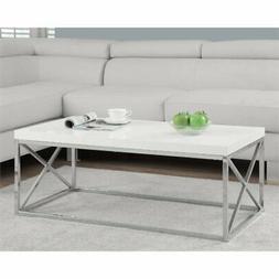 Monarch Specialties 3028 Cocktail Table In Glossy White W/ C