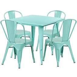 Flash Furniture 31.5'' Square Mint Green Metal Indoor-Outdoo
