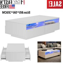 "33"" High Gloss LED Coffee Table W/2 Open Shelf + 4 Drawers L"