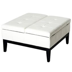 "HOMCOM 33"" Square Tufted Storage Ottoman Bench Footrest"