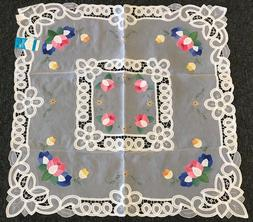 """36"""" Sqaure Embroidery Fabric White Tablecloth Side End Coffe"""