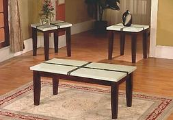 The Room Style 3pc Faux Marble Top Wood Coffee Table & End T
