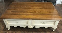 Ethan Allen 4 Drawer Large Country French Coffee Table