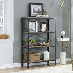 O&K Furniture 4-Shelf Industrial Open Bookcase, Wood and Met