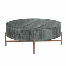 40 Inch Round Wooden Coffee Table with Cross Metal Base Supp