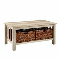 "40"" Rustic Wood Storage Coffee Table with Totes - White Oak"