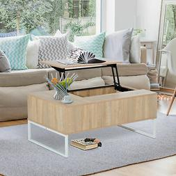 "43"" Lift Top with Storage Coffee Table Modern Wood Living Ro"