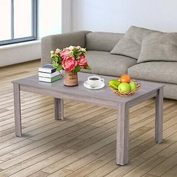 "43"" Rectangle Modern Contemporary Parsons Coffee Table Nat"