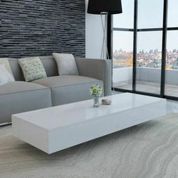 "45"" Modern High Gloss White Coffee Table Side End Table Livi"