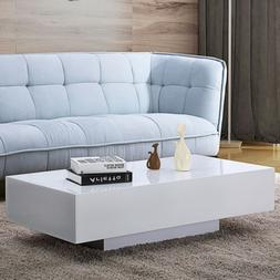 "45"" Modern High Gloss White Coffee Table End Side Table Livi"