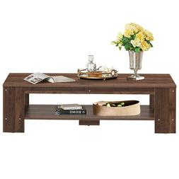 Rustic Wood Coffee Table Rectangular Coffee Table with Stora
