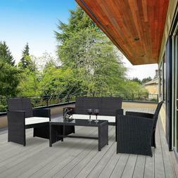 Tangkula 4PCS Patio Furniture Set with Coffee Table, Chairs,