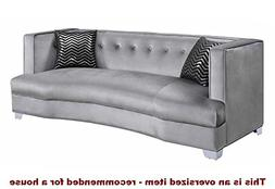 Caldwell Velvet Sofa Silver and Chrome