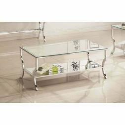 Coaster Home Furnishings 720338 Coffee Table Chrome/Tempered