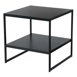 Household Essentials 8102-1 Square 2-Tier End Table, Black