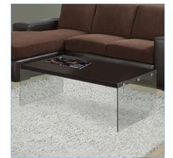 Coffee Table Dark Taupe Tempered Glass Cappuccino Chic Offic