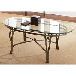 Contemporary Style Maison Tempered Glass-top Oval Coffee Tab