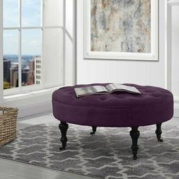 Divano Roma Furniture - Round Tufted Microfiber Coffee Table