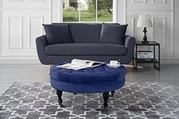 Divano Roma Furniture - Round Tufted Velvet Coffee Table wit