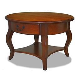 Leick French Countryside Round Storage Coffee Table, Brown C
