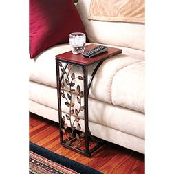 Sofa Side and End Table, Small - Metal, Dark Brown Wood Top